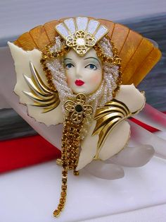 Handcrafted Art Deco Flapper Lady Brooch