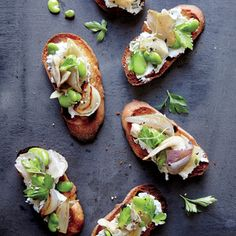 Fava Bean and Mushroom Crostini | MyRecipes.com Nutty fava beans get the spotlight here in this festive spring appetizer. Lemon and goat cheese balance the deep umami notes from the mushrooms.