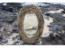 "Driftwood Oval Mirror 20""x24"" - Coastal Living. Driftwood Oval Mirror: here is a beautiful hand made driftwood mirror. This mirror will add a nice coastal accent to your bathroom, living room or any places for your home decor. Size 20"" X 24"""