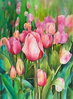 Diana Mitchell - The Tulip Field Tulip Painting, Watercolour Painting, Painting & Drawing, Watercolors, Watercolor Cards, Watercolor Flowers, Tulip Flower Drawing, Art Floral, Quirky Art