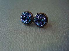 titanium druzy geode stud earrings by girlsewcute on Etsy