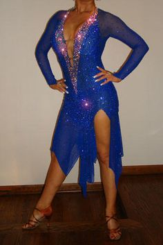Gorgeous Blue Latin or Rhythm Dress For Sale, Dance Costumes For Sale, Dance Gowns for sale