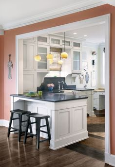 don't love the colour but do love the kitchen peninsula. Great size, similar layout.