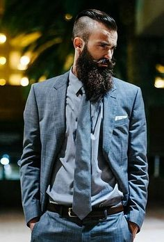 Love this look. Haircut and beard look amazing with the Suit and Tie.