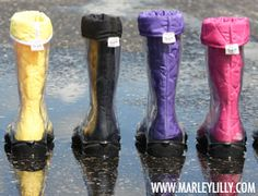 Monogrammed Rain Boot Liners with Clear Rain Boots