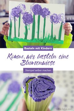 Crafts with children in spring: We stamp a flower meadow with celery - Frühling - Blumen Paper Flower Decor, Large Paper Flowers, Tissue Paper Flowers, Paper Flower Backdrop, Leaf Template, Flower Template, Paper Peonies, Paper Roses, Make Your Own Stamp