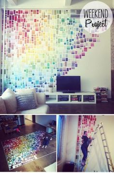 paint swatches used for wall decor. Free and so cool!