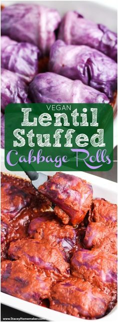 Red cabbage rolls stuffed with a flavorful mixture of onions, lentils, brown rice, and Italian seasonings. This is one of our favorite healthy, inexpensive dinners! Tastes just like grandma's cabbage rolls but without the meat! Vegan, dairy-free, gluten-free, soy-free.
