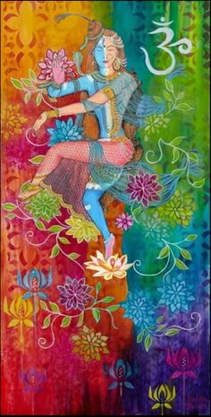 Lord Shiva as ardhanarishwar in creative art painting