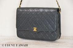 CHANEL Black Leather Matelasse Chain Shoulder Bag