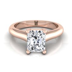 Radiant Cut Diamond Solitaire Cathedral Setting Engagement Ring With Half Rounded Shank In Rose Gold Radiant Cut Engagement Rings, Rose Gold Engagement Ring, Radiant Cut Diamond, Solitaire Ring, Shank, Cathedral, Wedding Rings, Jewelry, Rose Gold Square Engagement Ring