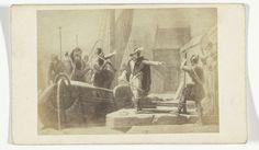 Anonymous | Fotoreproductie van een gravure: Verrassingsaanval op het kasteel van Breda met behulp van een turfschip, 4 maart 1590, Anonymous, c. 1870 - c. 1880 |