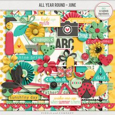 All Year Round- June by Digital Scrapbook Ingredients is now available at Pixels and Company for less 30%. Papers and Elements can also be bought in separate packs