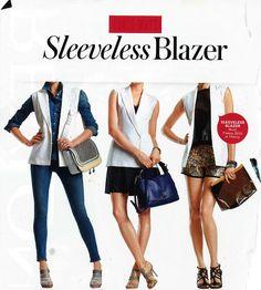 white vest blazer---black skirt/grey top/white best with gold accessories