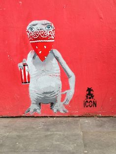 ET #Red #Street #Art By Icon in London. Repinned by Tempo Pilates, www.tempopilates.com