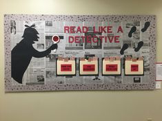 Detective Bulletin Board for school newspapers! Newspaper Bulletin Board, Reading Bulletin Boards, Bulletin Board Display, Classroom Bulletin Boards, English Bulletin Boards, Preschool Bulletin, School Displays, Library Displays, Classroom Displays