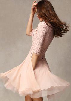 Pink Patchwork Ruffle 3/4 Sleeve Knee Length Lace Dress - Mini Dresses - Dresses