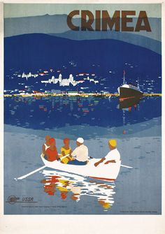 Crimea , 1930 (Black Sea, Russia) Vintage travel seaside poster  #essenzadiriviera