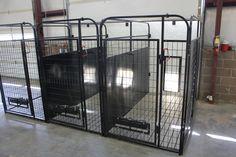 inside and outside kennel multiple dog run system K9 Kennels, Dog Boarding Kennels, Pet Boarding, Dog Kennel Designs, Kennel Ideas, Dog Kennel Inside, Dog Bedroom, Dog Pen, Best Dog Toys