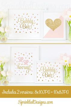 Bubbly Bar Sign Blush Pink Gold Glitter Brunch by SprinkledDesign