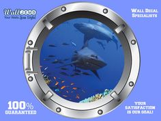 Shark 2 Porthole Wall Decal  Porthole Vinyl Wall Decal by WallJems, $11.00