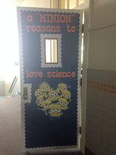 Despicable Me minion theme science classroom. Love my door!