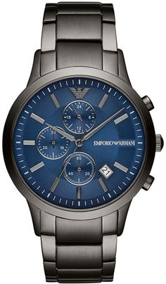 0b5601639649 Emporio Armani Men Chronograph Gunmetal Stainless Steel Bracelet Watch 43mm