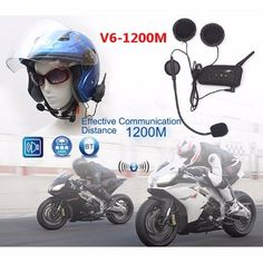 New 2* V6-1200 Outdoor Full Duplex Motorcycle Helmet Wireless Bluetooth Intercom #UnbrandedGeneric