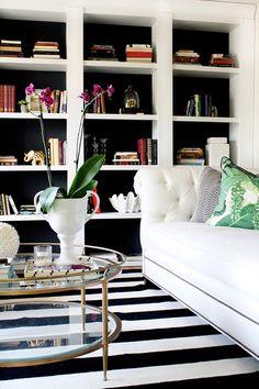 crane concept, living room, interior design, blog, black and white, stripe, banana leaf, dorthy draper, moodboard