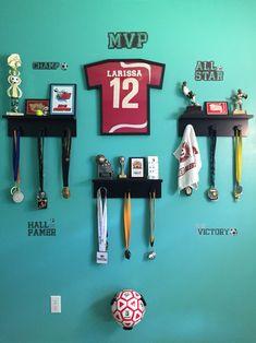 Trophie display ideas, metal display, sports, soccer room