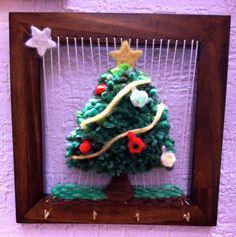 Arbol Navideño Woven Wall Hanging, Weaving, Christmas Ornaments, Holiday Decor, Crochet, Google, Home Decor, Embroidery Ideas, Hand Embroidery