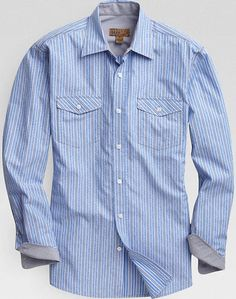 Pronto Blue Sport Shirt, Blue Jacquard Stripe | Men's Wearhouse