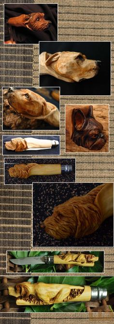 Gerdil Лоран - Скульптура - Животные Различные собаки, вырезанные из фотографий на ручке opinels 8. На заказ.