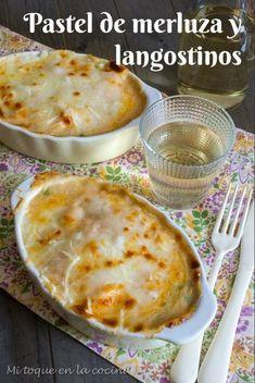 Mi toque en la cocina: Pastel de merluza y langostinos Fish Recipes, Asian Recipes, Great Recipes, Ethnic Recipes, Healthy Cooking, Cooking Recipes, Healthy Recipes, Le Pilates, Fish And Seafood