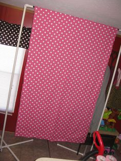 Photo booth back drop, found directions to make this easy and cheap at http://www.lifeisaprayer.com/articles/photography/diy-greenscreen I have 2 backdrops, this one is hot pink polka dot and the other one is a zebra print for my daughters birthday party