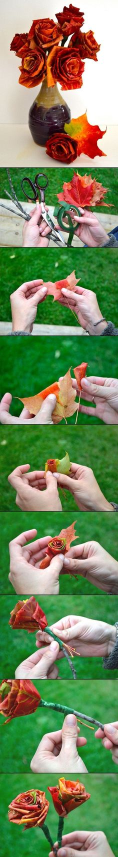 Diy Autumn Leaf Bouquet This Looks Like An Awesome Idea For A Fall Wedding Cute Crafts, Crafts For Kids, Arts And Crafts, Diy Crafts, Autumn Crafts, Nature Crafts, Flower Crafts, Diy Flowers, Leaf Flowers