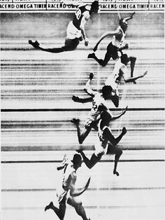 The photo finish from the 1952 Olympic 100 meter race. Six men were separated by one-tenth of a second. The man who finished sixth, John Treloar was from Australian. He died in July 2012 at the age of 84. http://www.obitoftheday.com/post/28428313678/johntreloar