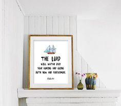 Christian Printable Art, the Lord will Watch Over, Christian Nursery Print Art, Nursery Wall Art, Nursery Print, Kid's Room Printable Art 83 by CAprintables on Etsy