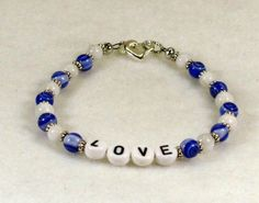 White and Blue Beaded L-O-V-E Bracelet #729 $15.00 http://www.artfire.com/ext/shop/studio/HCLTreasures