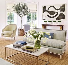 Neutral living room with bold contemporary art - Bruce Budd Design