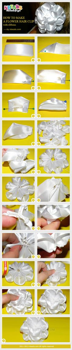 how to make a flower hair clip with ribbons