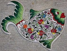 """Green 7"""" Turkish Handmade & Handpainted Ceramic Fish Wall Hanging • CAD…"""