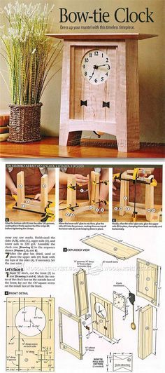 Wooden Clock Plans Woodworking Plans and Projects WoodArchivistcom Woodworking Furniture Plans, Woodworking Projects That Sell, Woodworking Crafts, Teds Woodworking, Wooden Clock Plans, Wood Plans, Small Wood Projects, Diy Projects, Planer