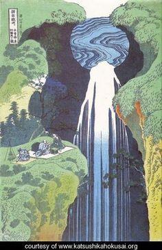 Amida Waterfall on the Kisokaido Road (Kisoji no oku Amidagataki) by Hokusai (woodblock relief print)