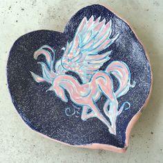 ceramic Pegasus plate by Sirkku