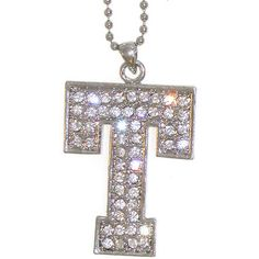 """Varsity Letter Necklace! 1 7/8"""" Austrian Crystal Initial Necklace on 16"""" Ball Chain"""