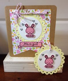 Baby Girl card made with carnival cupcake stamp and die, doodlebug & Lawn Fawn's Let's polka paper. A coordinating gift tag makes this set super sweet.