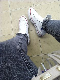 White high top converse White High Top Converse, White High Tops, Converse Chuck Taylor High, High Top Sneakers, Chuck Taylors High Top, Style Ideas, Closet, Inspiration, Fashion