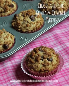 Chocolate Chip Graham Cracker Muffins, it's like eating a cookie for Breakfast, from Chocolatechocolateandmore.com