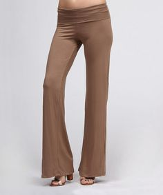 Take a look at this Mocha Fold-Over Pants by BOLD & BEAUTIFUL on #zulily today!